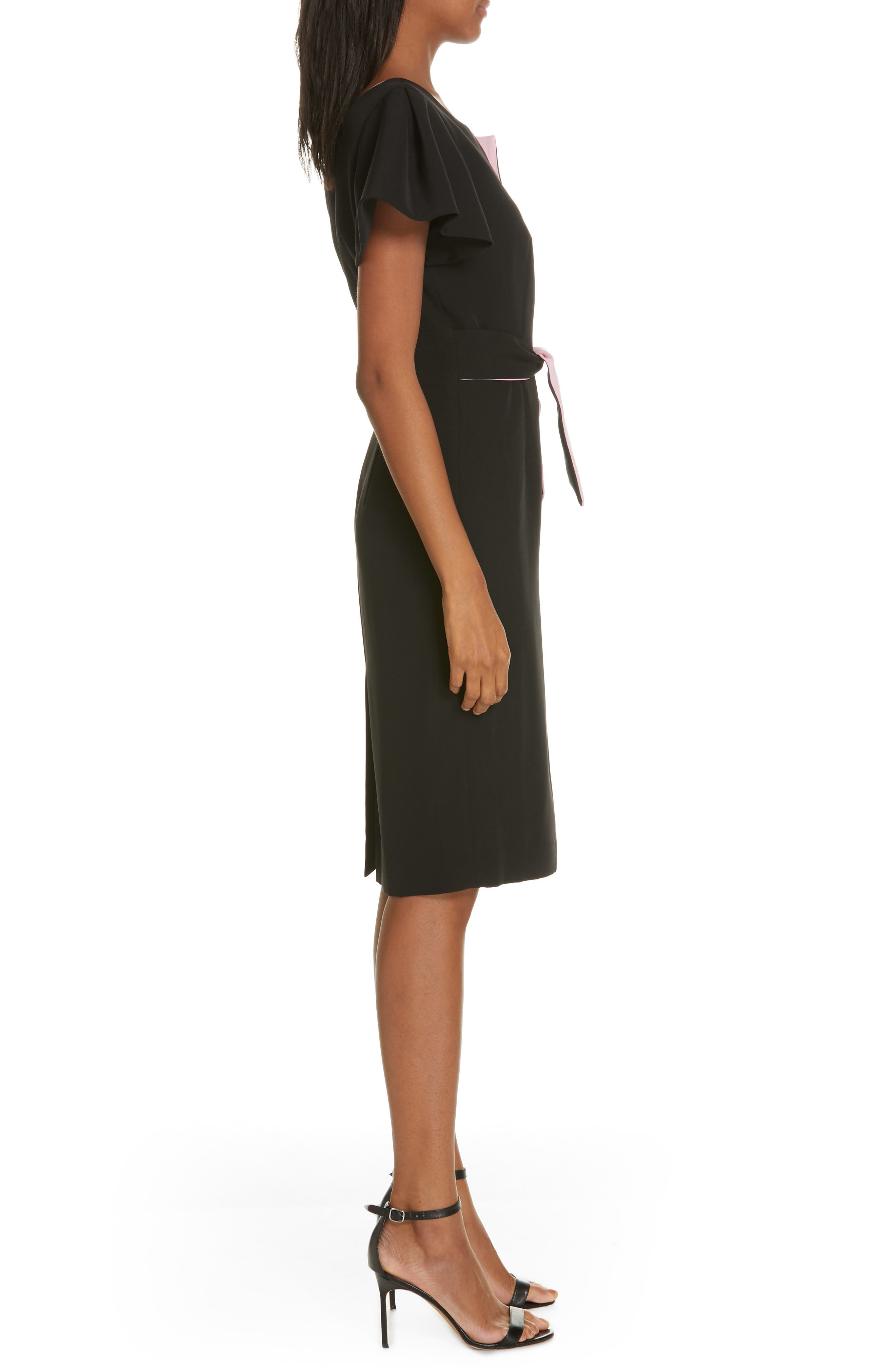 ,                             Tina Italian Cady Belted Dress,                             Alternate thumbnail 3, color,                             001