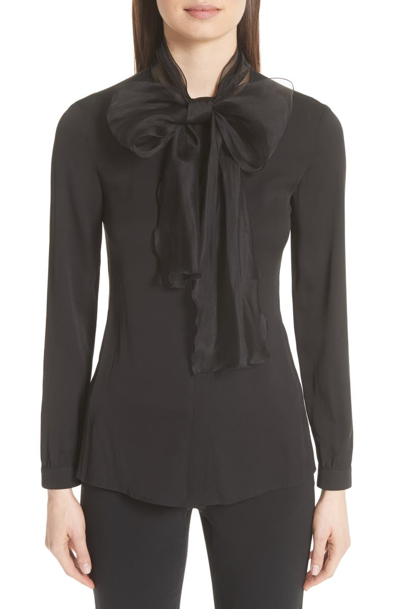 EMPORIO ARMANI Organza Bow Stretch Silk Blouse, Main, color, BLACK