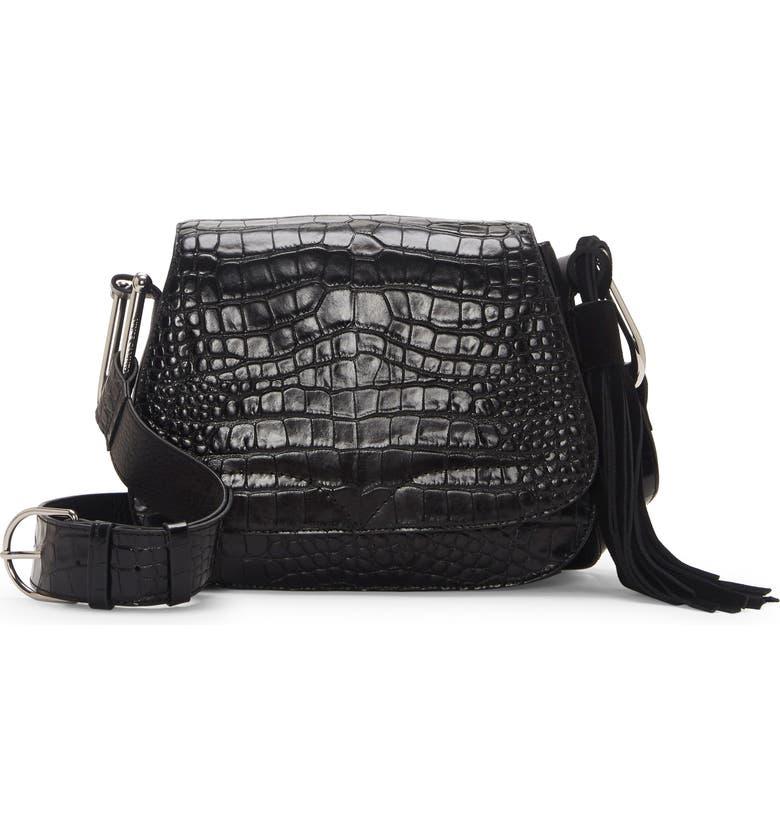 VINCE CAMUTO Tal Croc Embossed Leather Shoulder Bag, Main, color, NERO