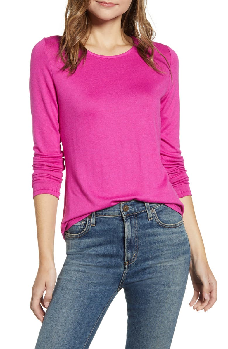 GIBSON Cozy Fleece Fitted Top, Main, color, NEON BERRY