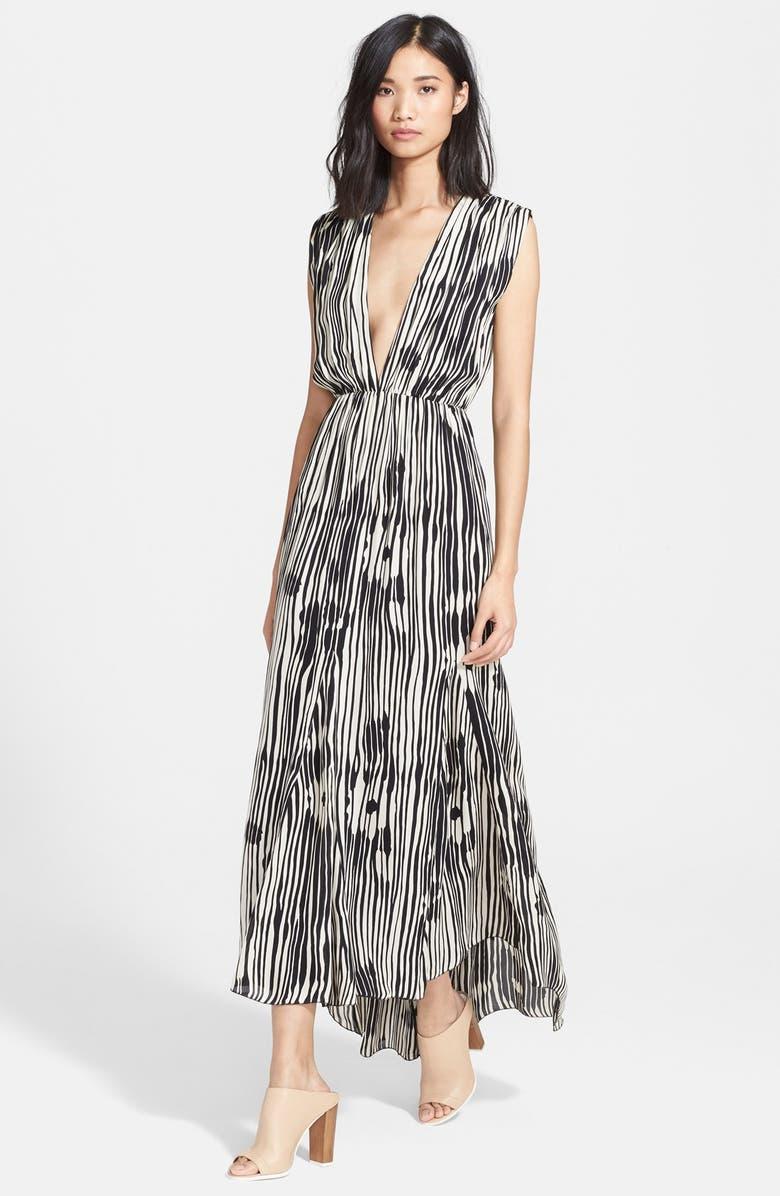 ALICE + OLIVIA 'Lexa' Print Silk Maxi Dress, Main, color, 020