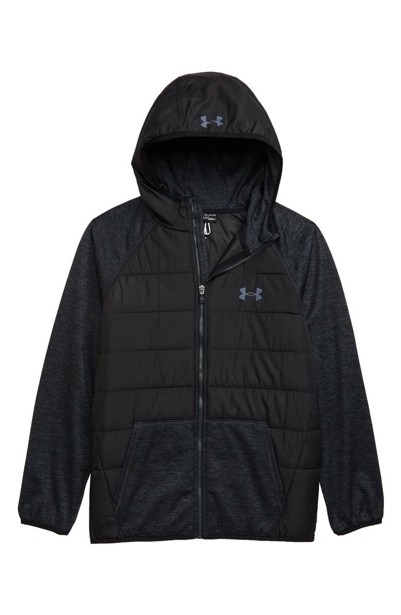 UNDER ARMOUR Day Trekker Water Resistant ColdGear<sup>®</sup> Hooded Puffer Jacket, Main, color, BLACK