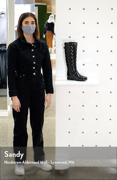 Original Refined High Gloss Quilted Waterproof Rain Boot, sales video thumbnail