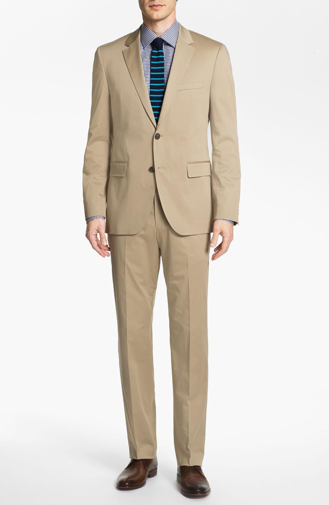 ,                             BOSS Black 'James/Sharp' Cotton Suit,                             Main thumbnail 1, color,                             291