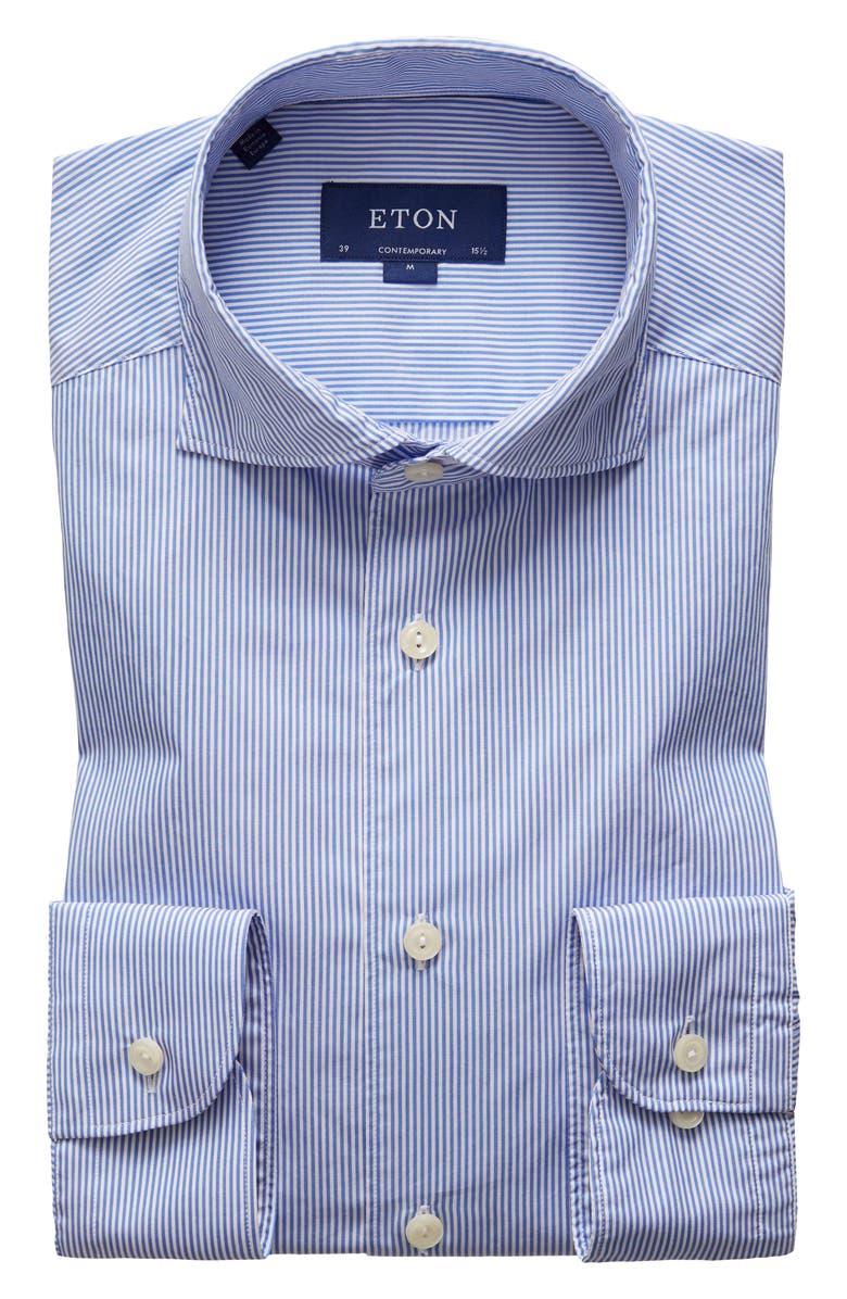 ETON Soft Casual Line Slim Fit Stripe Casual Shirt, Main, color, BLUE