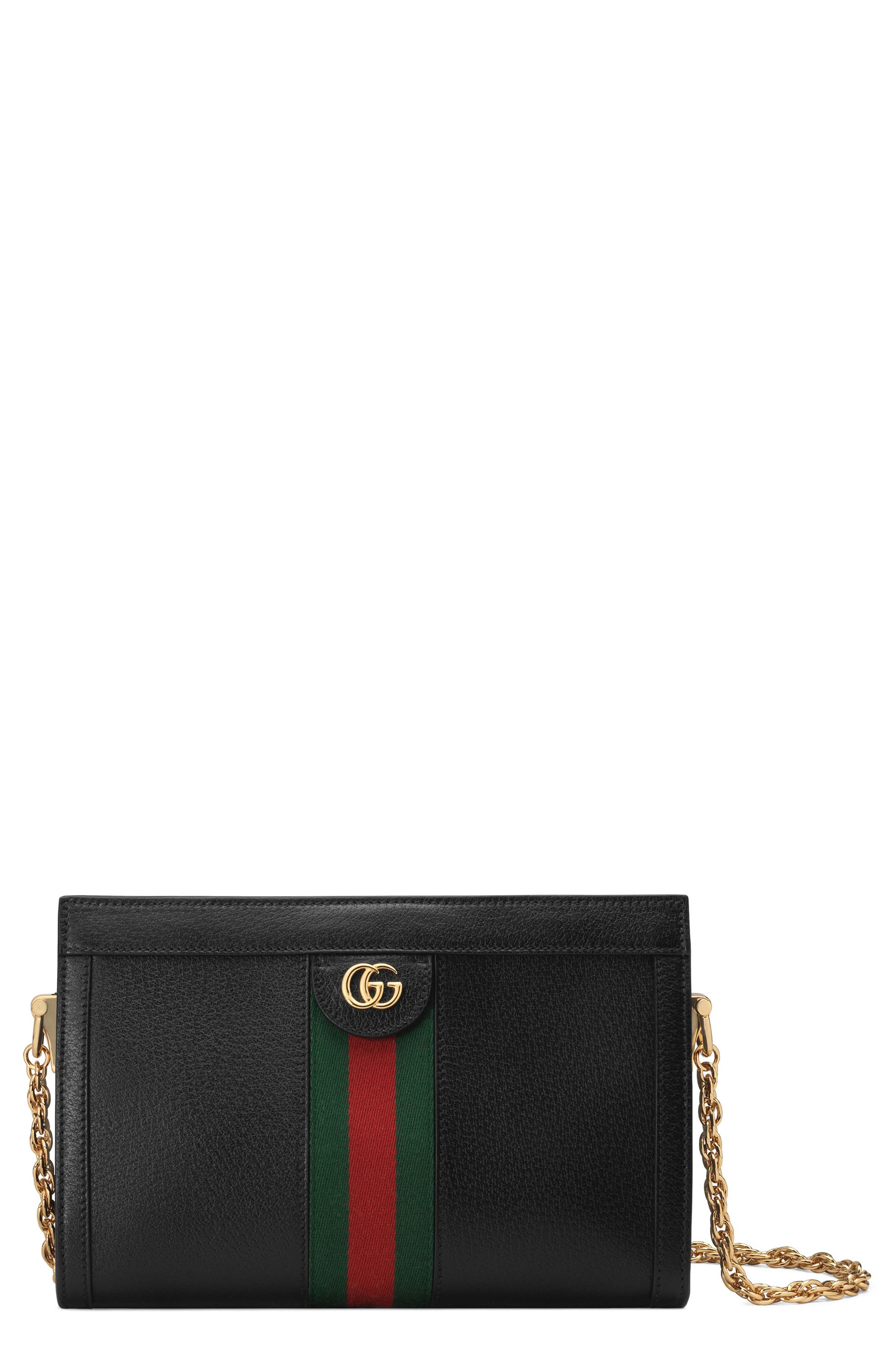 Small Ophidia Leather Shoulder Bag, Main, color, NERO/ VERT RED VERT