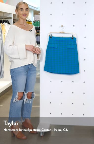 Colorful Gingham Front Flap Pocket Skirt, sales video thumbnail