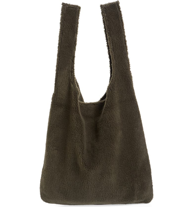 EILEEN FISHER Reversible Recycled Polyester Fleece & Recycled Nylon Tote, Main, color, SURPLUS