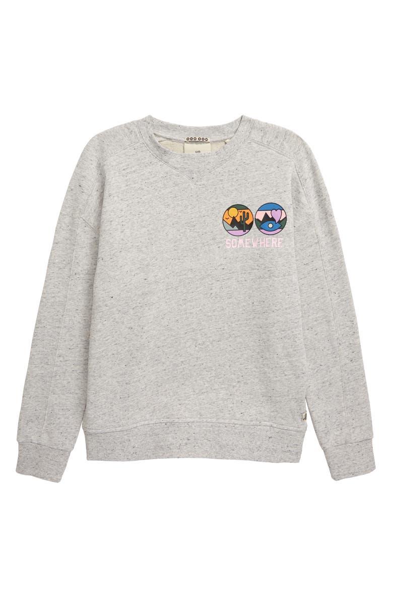 SCOTCH R'BELLE Mélange Artwork Fleece Sweatshirt, Main, color, 020