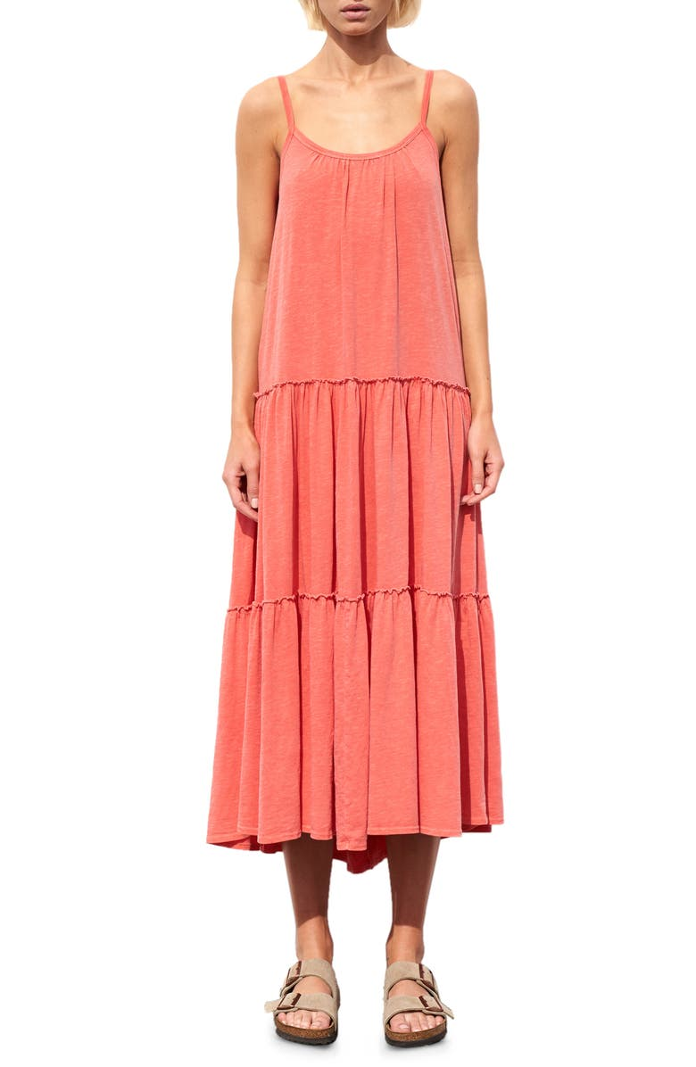 SUNDRY Tiered Sundress, Main, color, PIGMENT MANDARIN