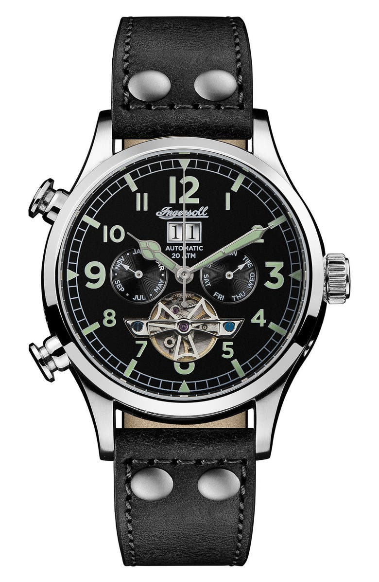 INGERSOLL Armstrong Automatic Chronograph Leather Strap Watch, 46mm, Main, color, 002