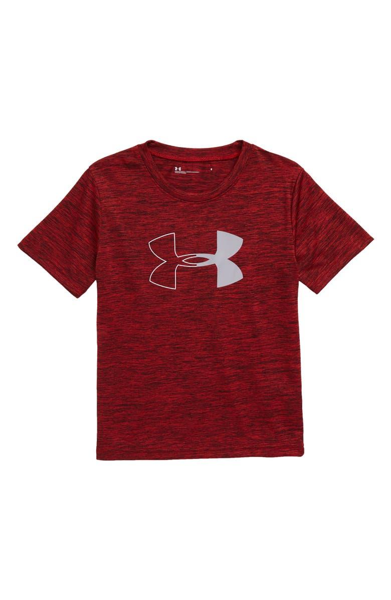 UNDER ARMOUR Half Icon Twist Graphic T-Shirt, Main, color, RED BLACK TWIST