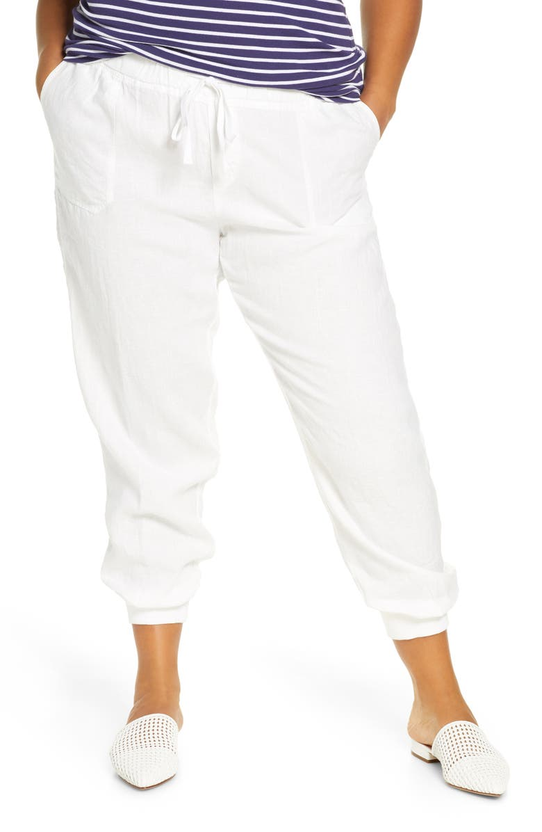 CASLON<SUP>®</SUP> Drawstring Linen Joggers, Main, color, WHITE