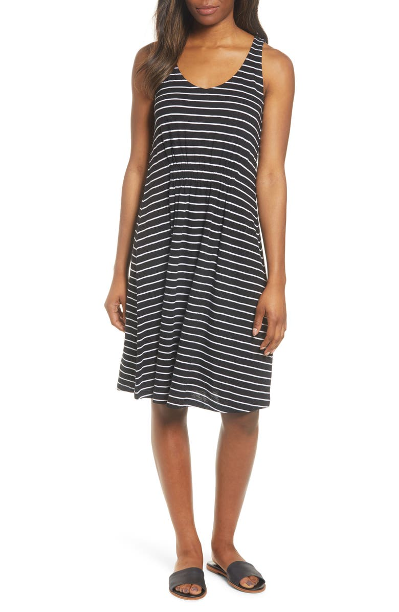 CASLON<SUP>®</SUP> Sleeveless Knit Dress, Main, color, BLACK- WHITE JULIA STRIPE
