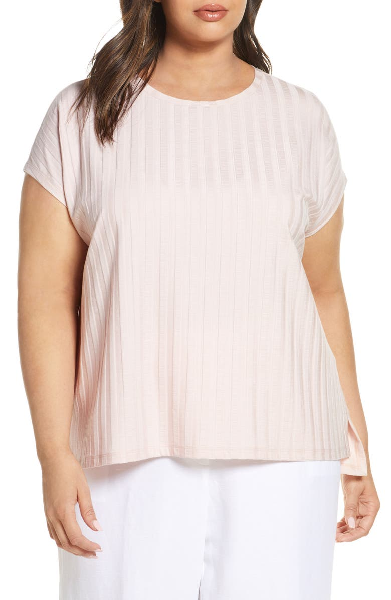 EILEEN FISHER Rib Knit Top, Main, color, POWDER