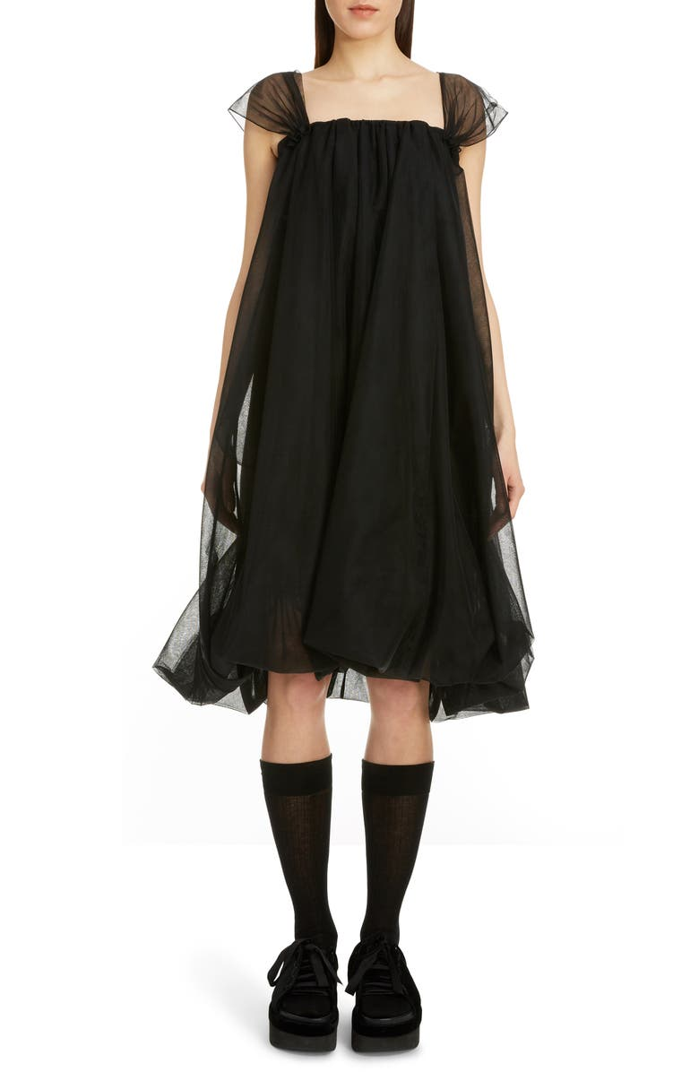 SIMONE ROCHA Tulle Babydoll Dress, Main, color, BLACK