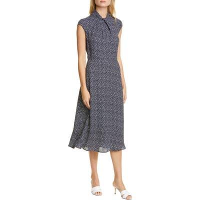 Judith & Charles Pisa Dot Cap Sleeve Midi Dress, Blue