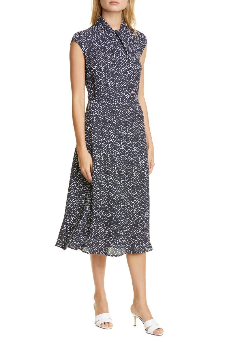 JUDITH & CHARLES Pisa Dot Cap Sleeve Midi Dress, Main, color, NAVY/ OFF WHITE