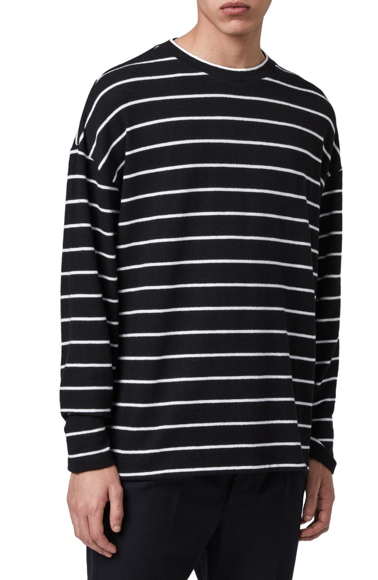ALLSAINTS Tobias Stripe Long Sleeve T-Shirt, Main, color, BLACK/ WHITE