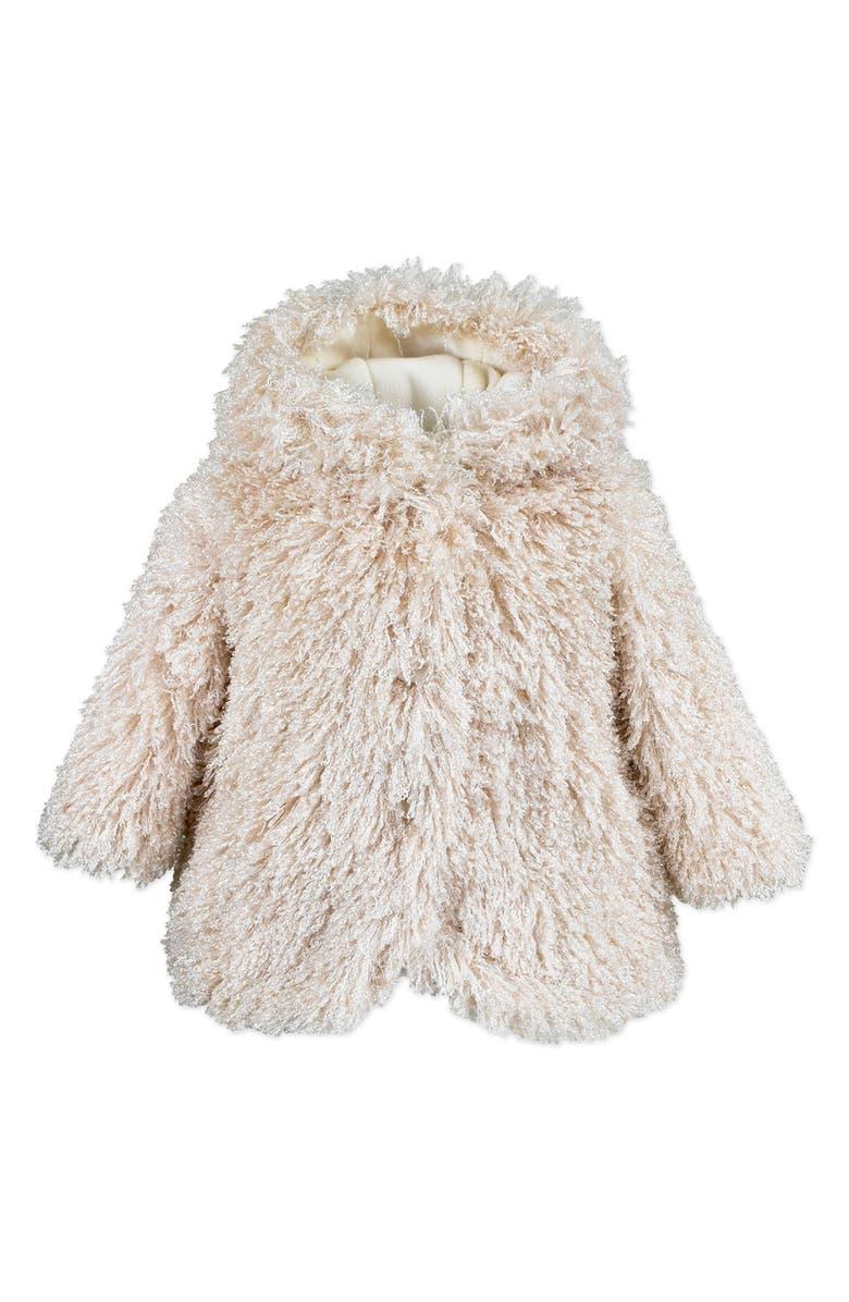 WIDGEON Hooded Faux Fur Jacket, Main, color, BLUSH