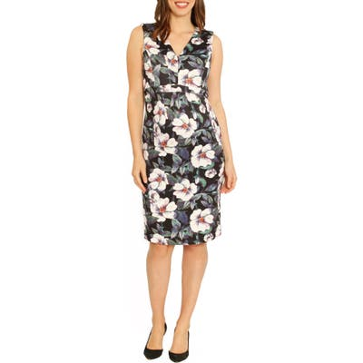 Angel Maternity Sleeveless Floral Print Maternity Dress, Green