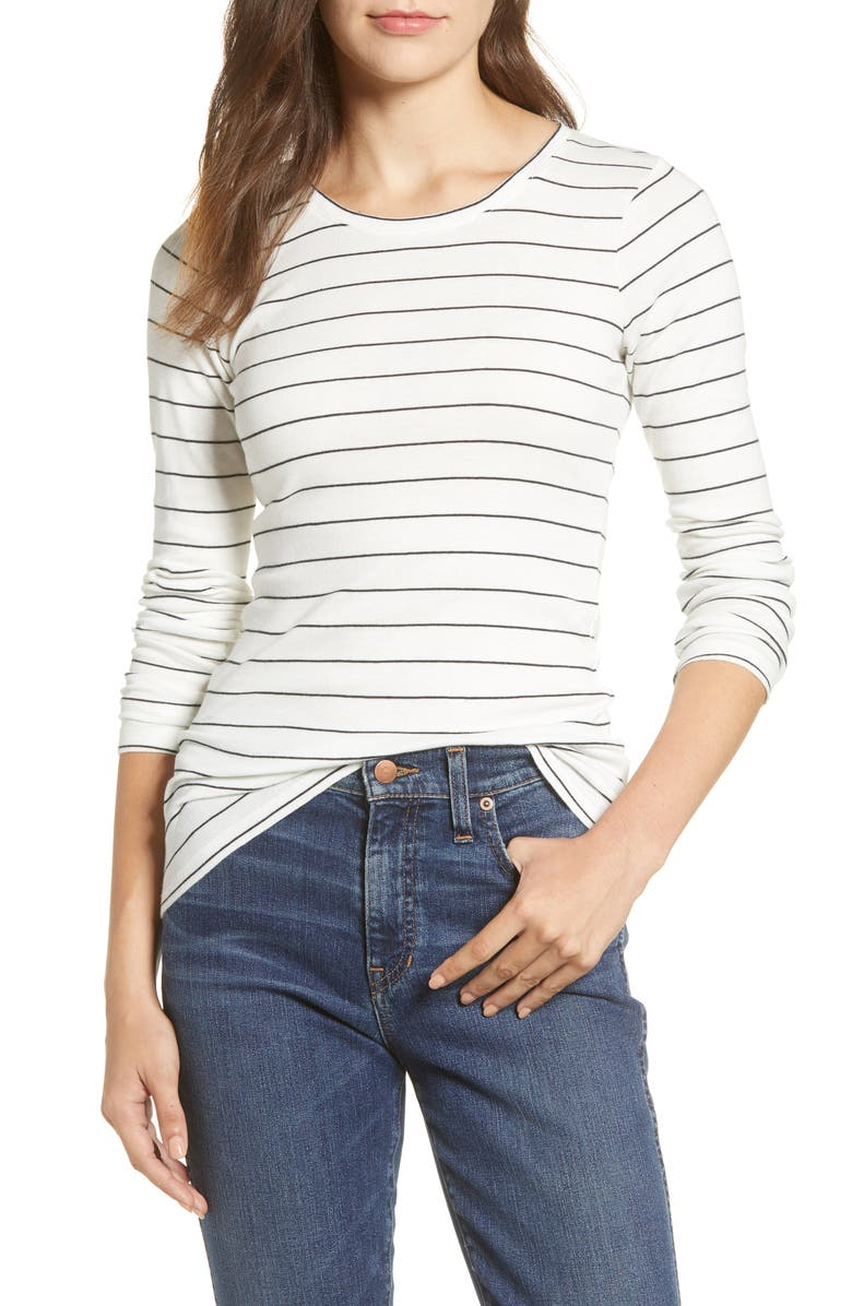 CASLON<SUP>®</SUP> Long Sleeve Scoop Neck Cotton Tee, Main, color, IVORY C BLACK LAUREN STRIPE