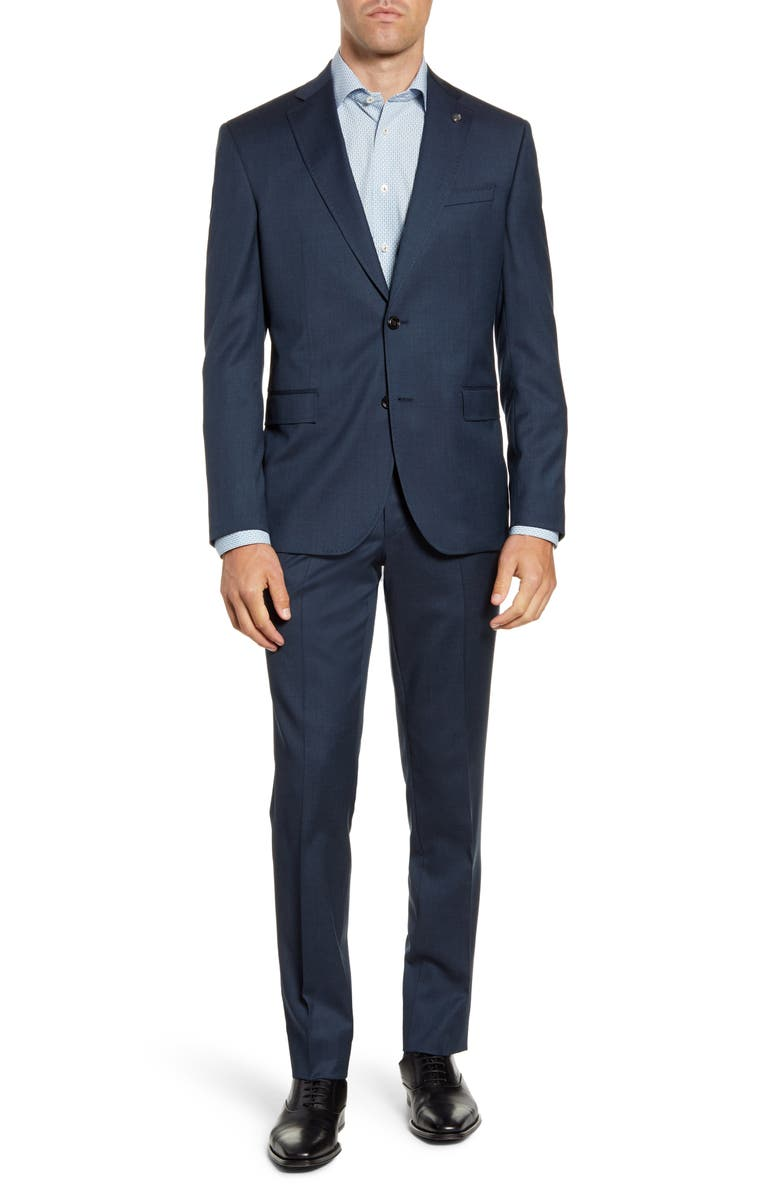 TED BAKER LONDON Roger Trim Fit Stretch Solid Wool Suit, Main, color, BLUE