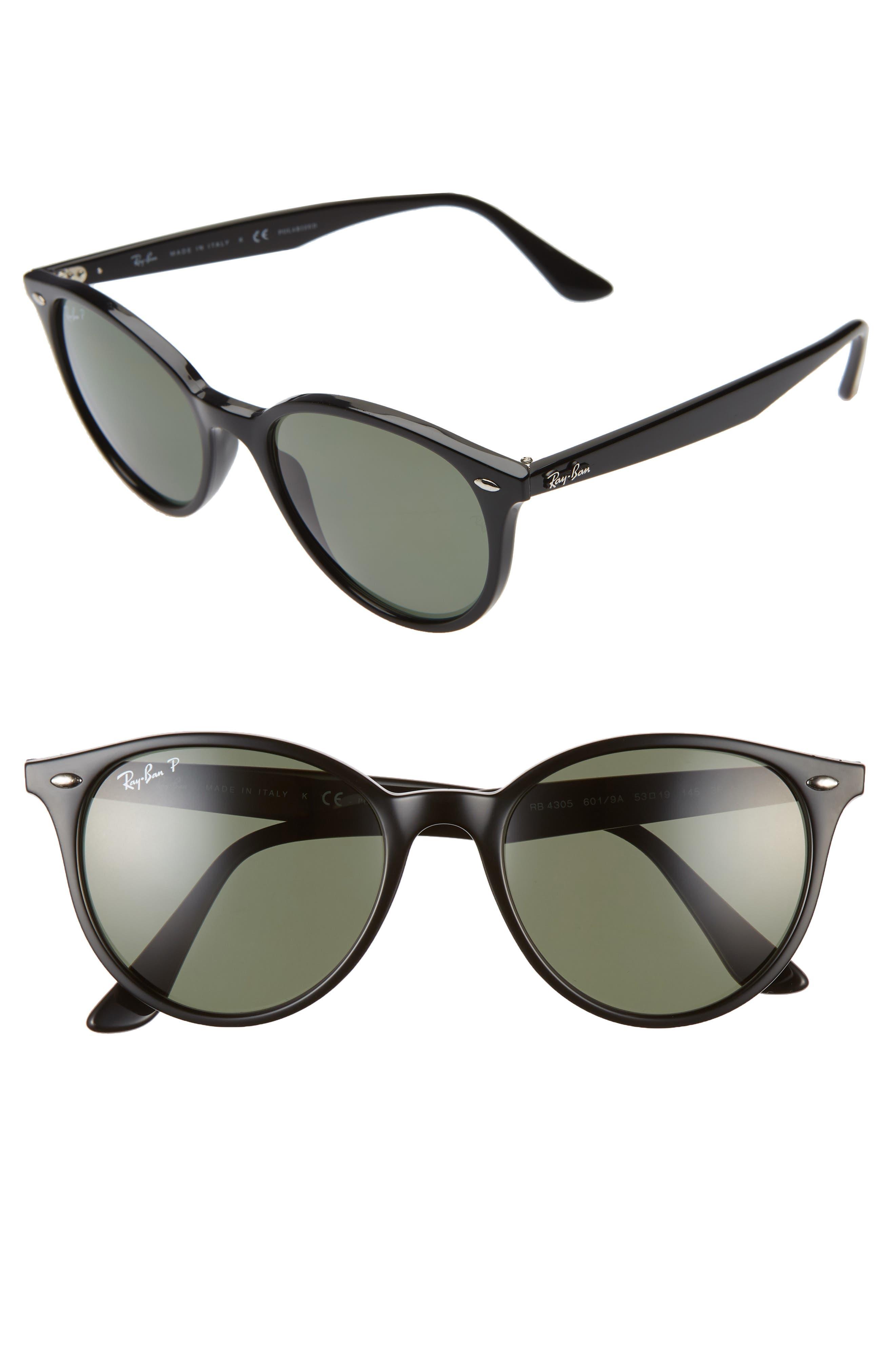 Ray-Ban Phantos 5m Polarized Round Sunglasses - Black/ Green Solid