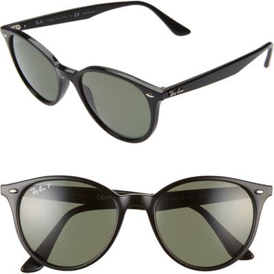 Ray-Ban Phantos 5m Polarized Round Sunglasses - Black/ Green Solid