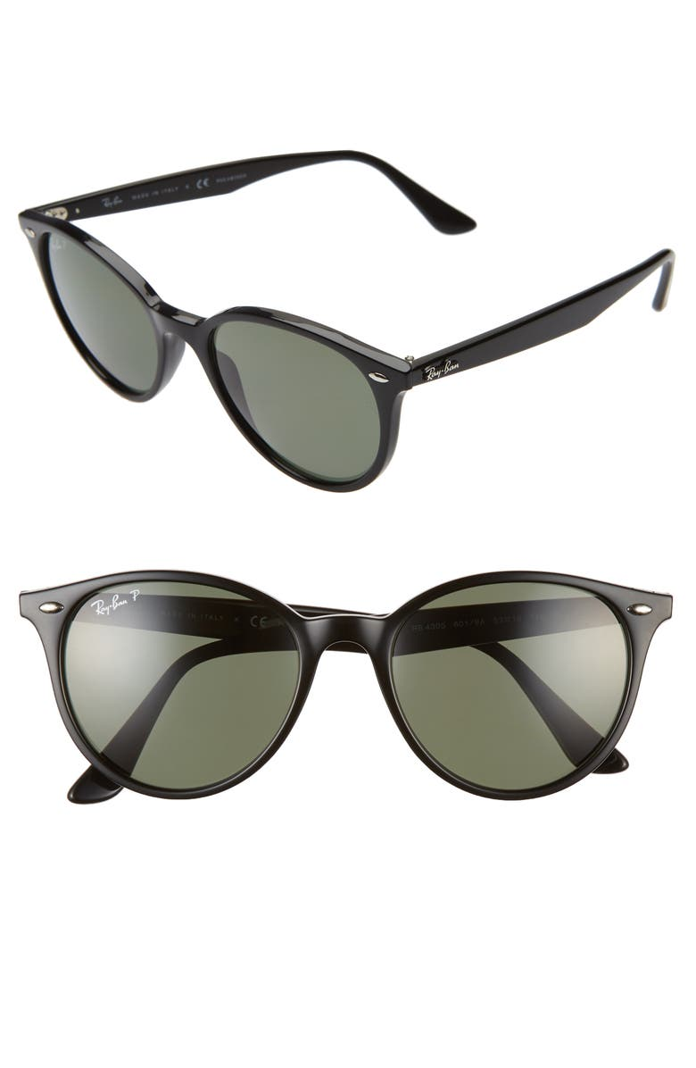RAY-BAN Phantos 53mm Polarized Round Sunglasses, Main, color, BLACK/ GREEN SOLID