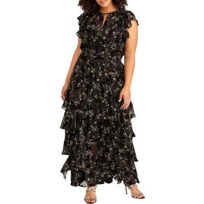 Plus Size Rachel Rachel Roy Issa Floral Burnout Maxi Dress, Black