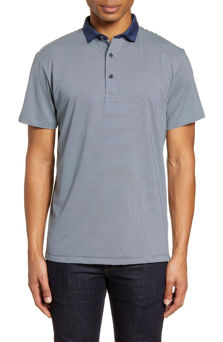 MIZZEN+MAIN Phil Mickelson Stripe Short Sleeve Performance Golf Polo, Main, color, LIGHT BLUE NAVY STRIPE