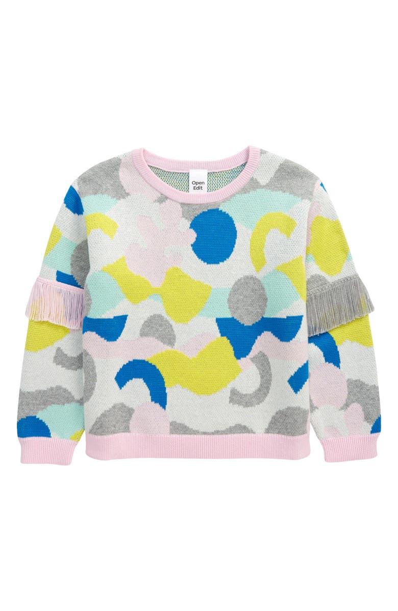 OPEN EDIT Kids' Sweater, Main, color, IVORY CLOUD MODERN GEO
