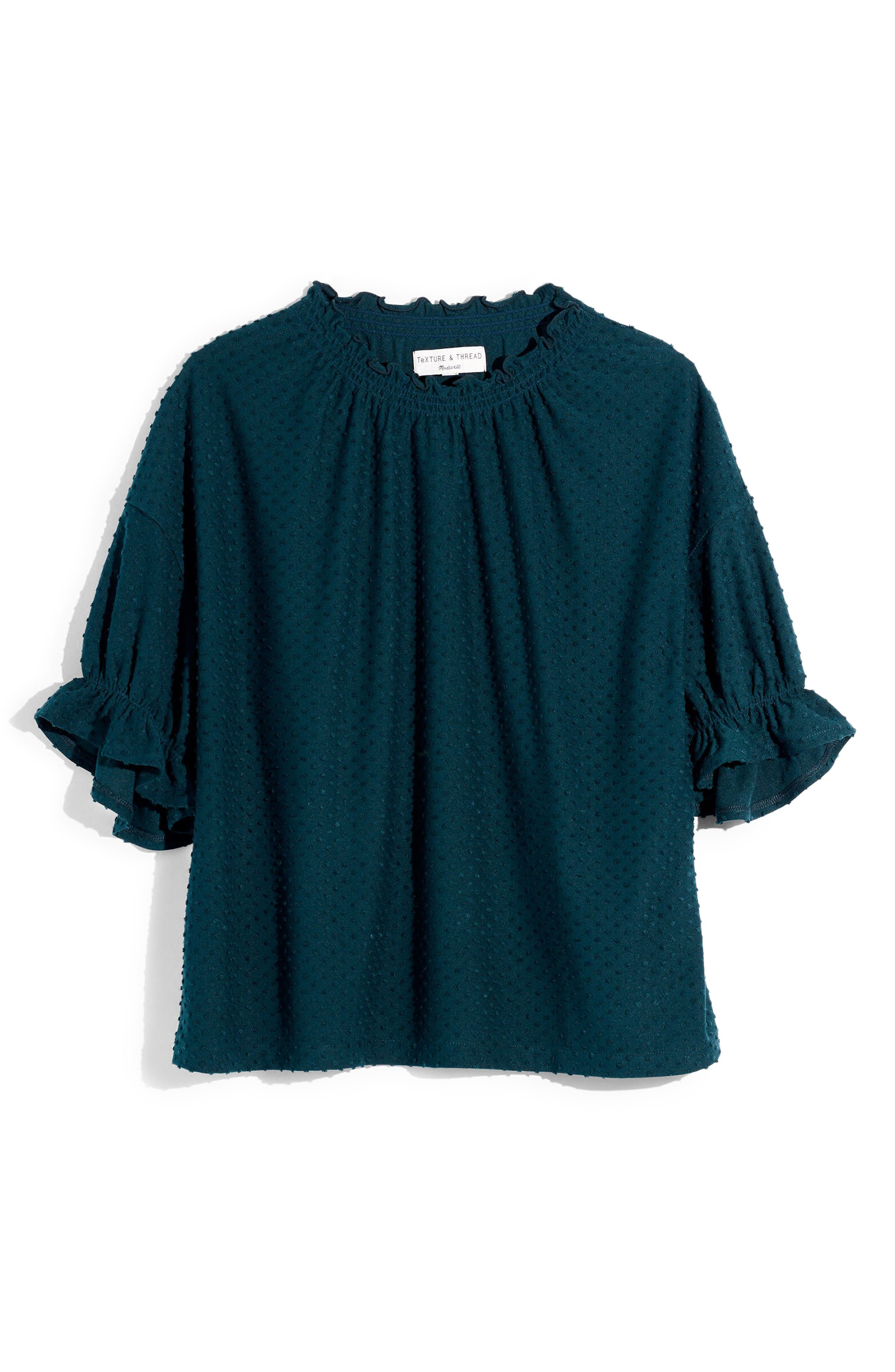 Madewell Texture & Thread Clip Dot Ruffle Top (Regular & Plus Size)