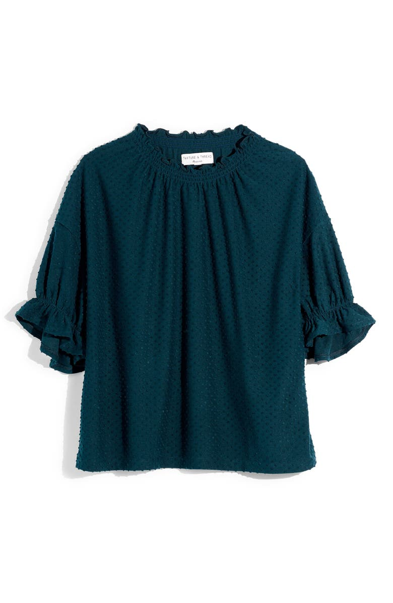 MADEWELL Texture & Thread Clip Dot Ruffle Top, Main, color, SMOKY SPRUCE