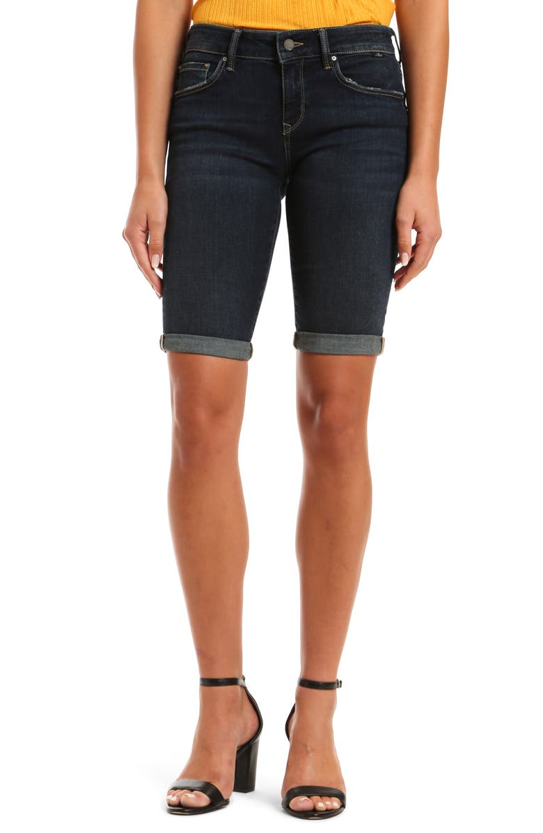 MAVI JEANS Karly Denim Bermuda Shorts, Main, color, DEEP TRIBECA