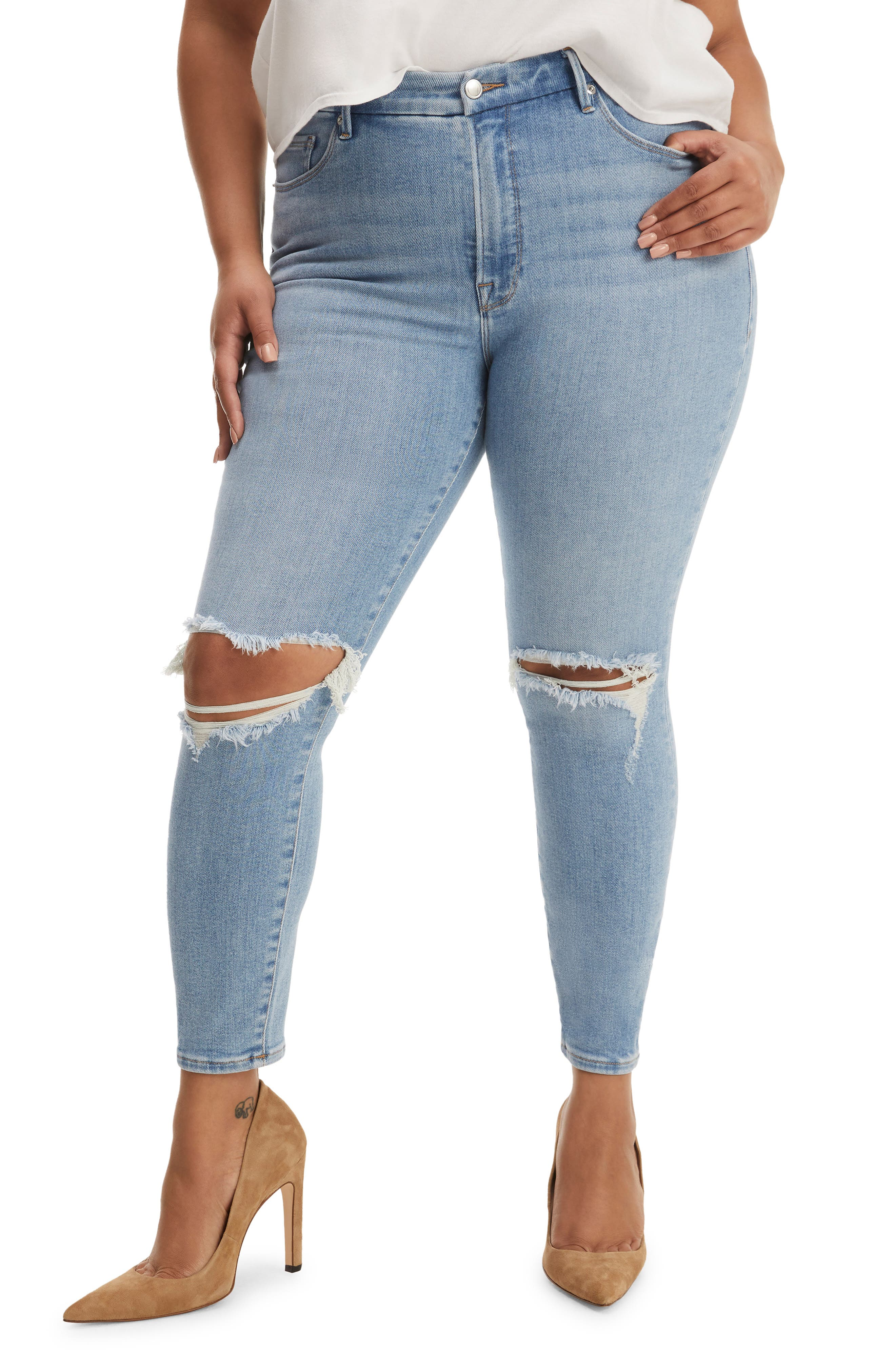 Women's Good American Good Legs Low Rise Ripped Ankle Skinny Jeans