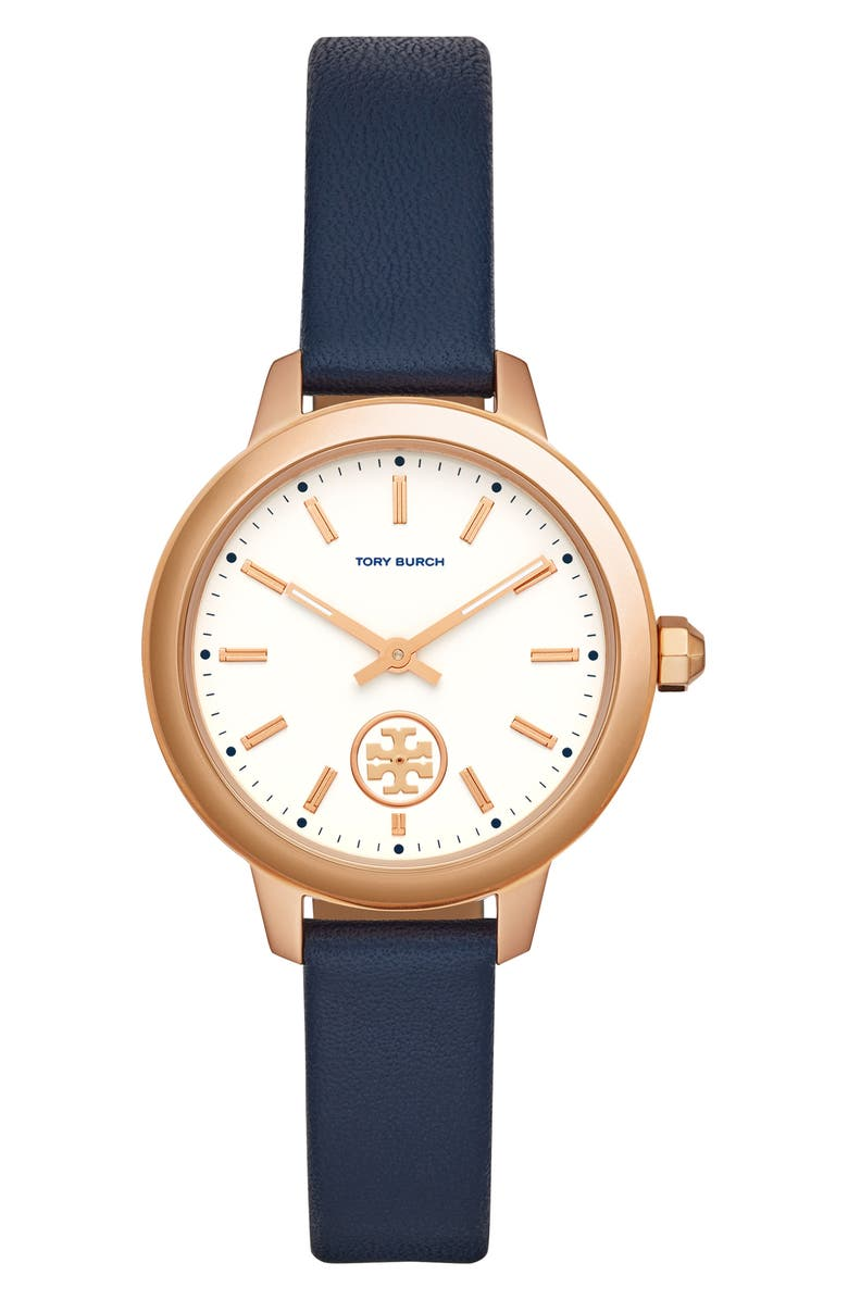 TORY BURCH Collins Leather Strap Watch, 38mm, Main, color, BLUE/ WHITE/ ROSE GOLD
