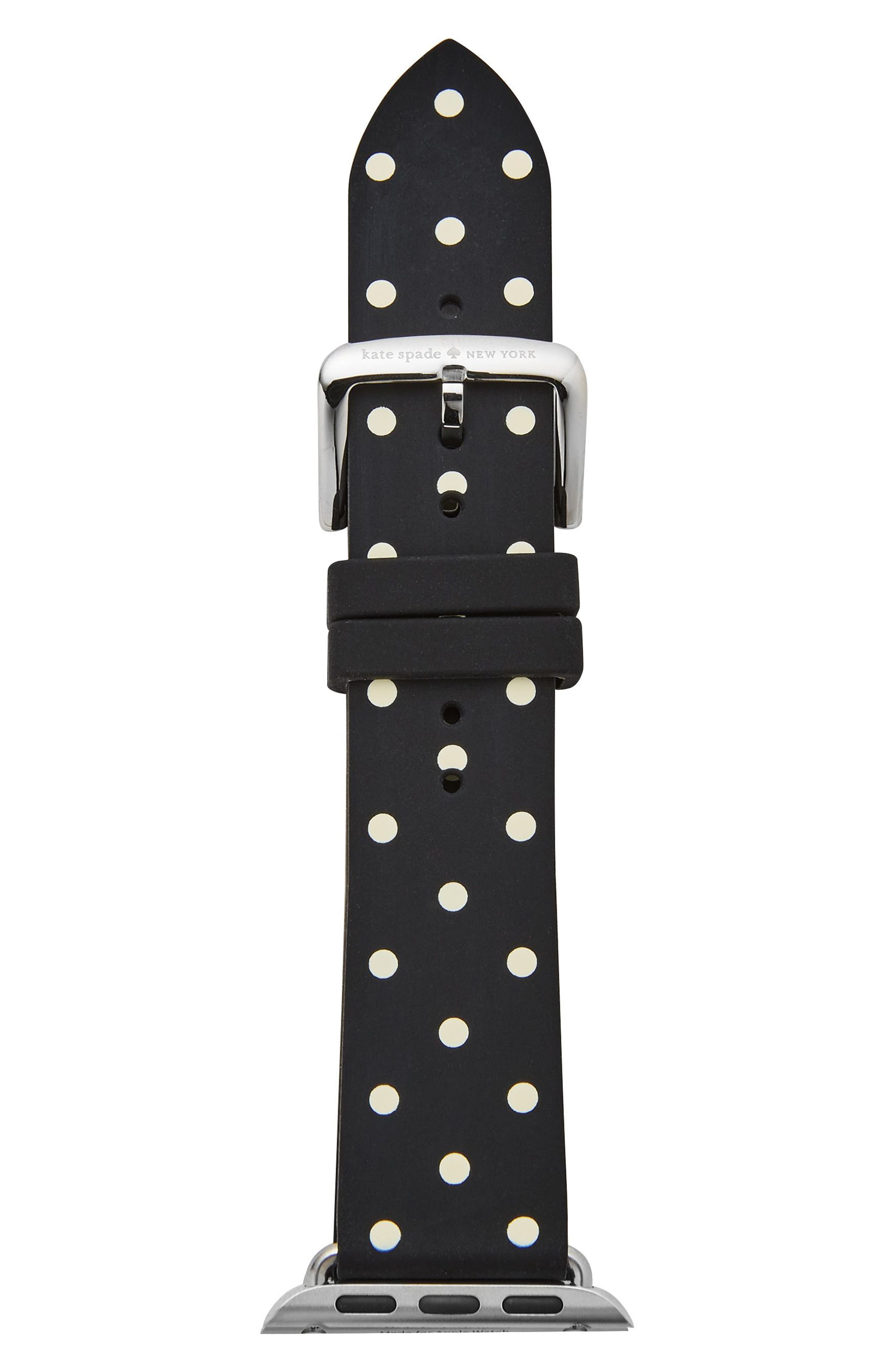 ,                             Apple Watch strap, 25mm,                             Alternate thumbnail 2, color,                             BLACK POLKA DOT