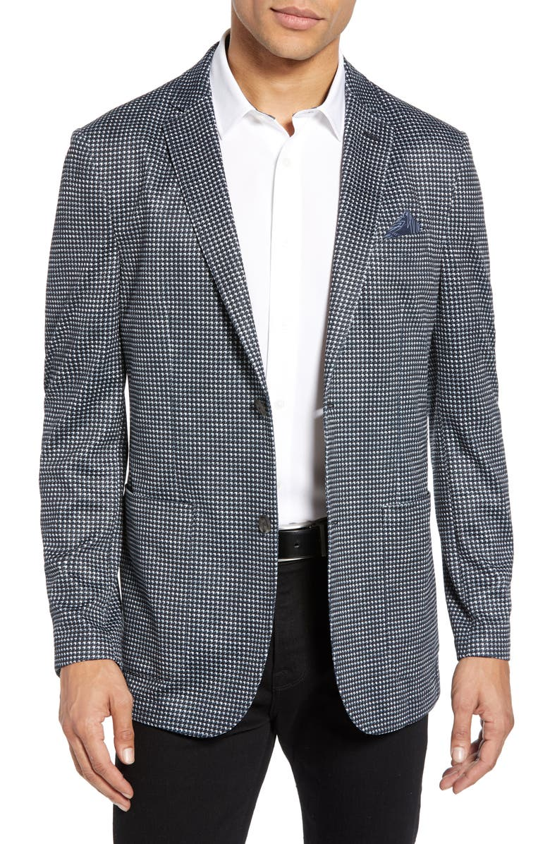 VINCE CAMUTO Slim Fit Print Mesh Sport Coat, Main, color, BLACK HOUNDSTOOTH PRINT