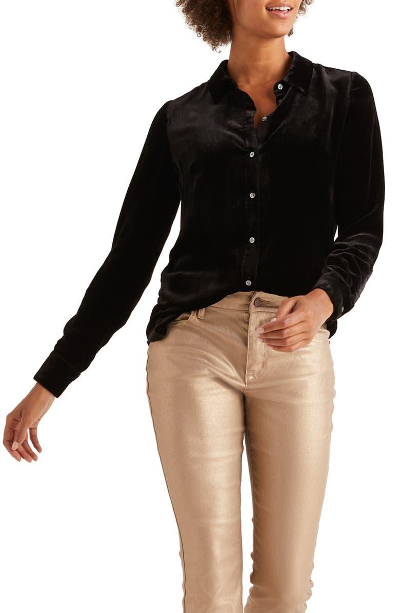 BODEN Eloise Velvet Shirt, Main, color, BLACK