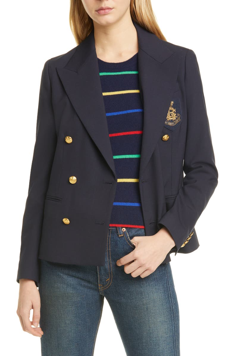 POLO RALPH LAUREN Double Breasted Wool Blend Jacket, Main, color, COLLECTION NAVY