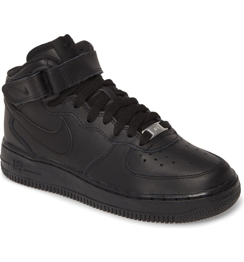 NIKE Air Force 1 Mid Top Sneaker, Main, color, BLACK/ BLACK