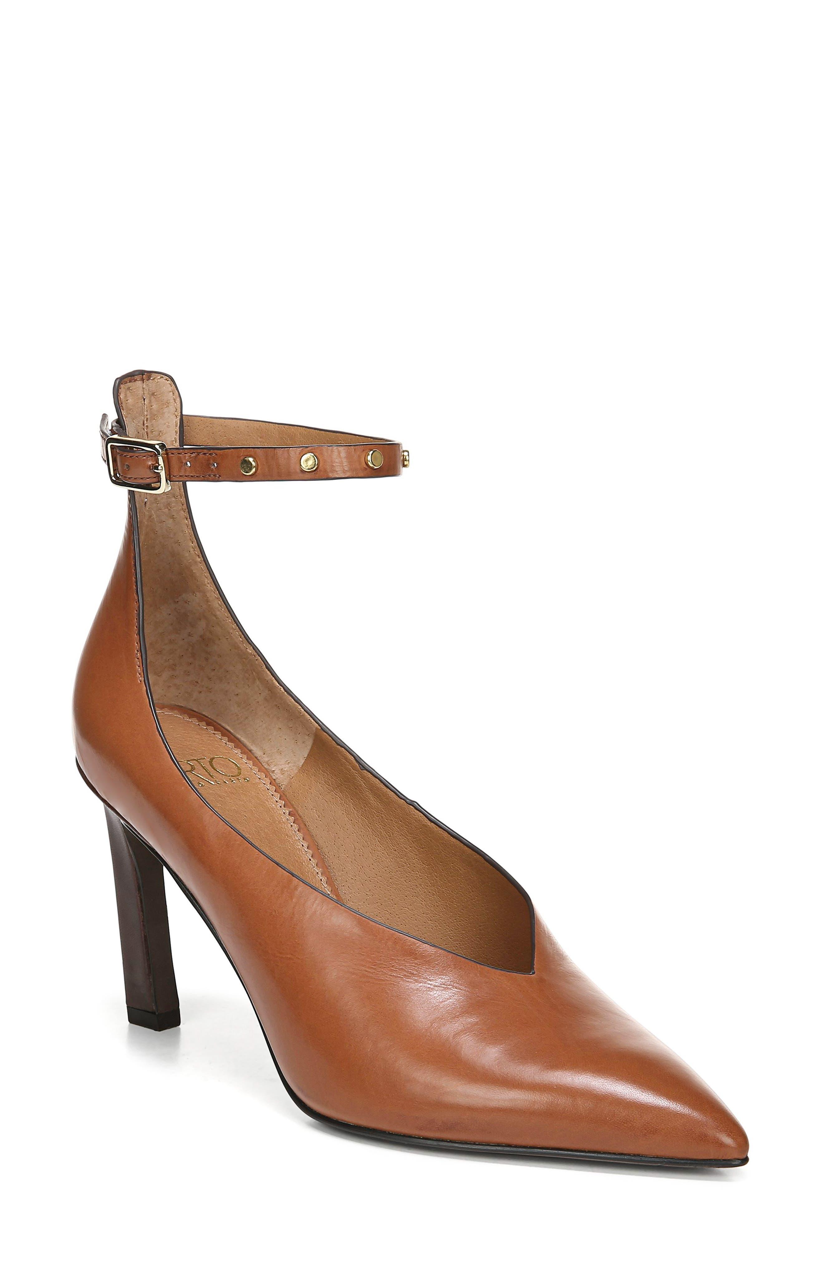 Sarto By Franco Sarto Sarah Ankle Strap Pump- Brown
