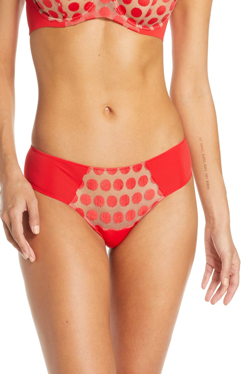 NATORI Irresistible Mesh Thong, Main, color, STOPLIGHT/ PECAN