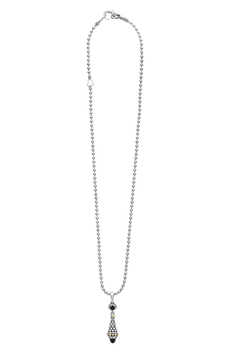 LAGOS Signature Caviar Pendant Necklace, Main, color, SILVER/ BLACK ONYX