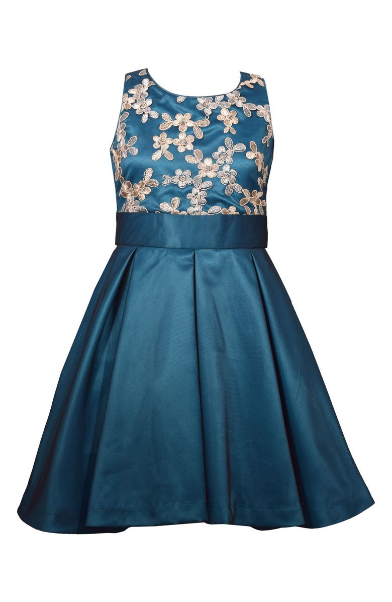 IRIS & IVY Mesh Overlay Fit & Flare Satin Dress, Main, color, BLUE/GREEN