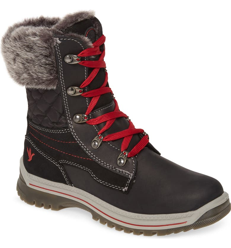 SANTANA CANADA Maleo Waterproof Winter Boot, Main, color, BLACK/ RED LEATHER
