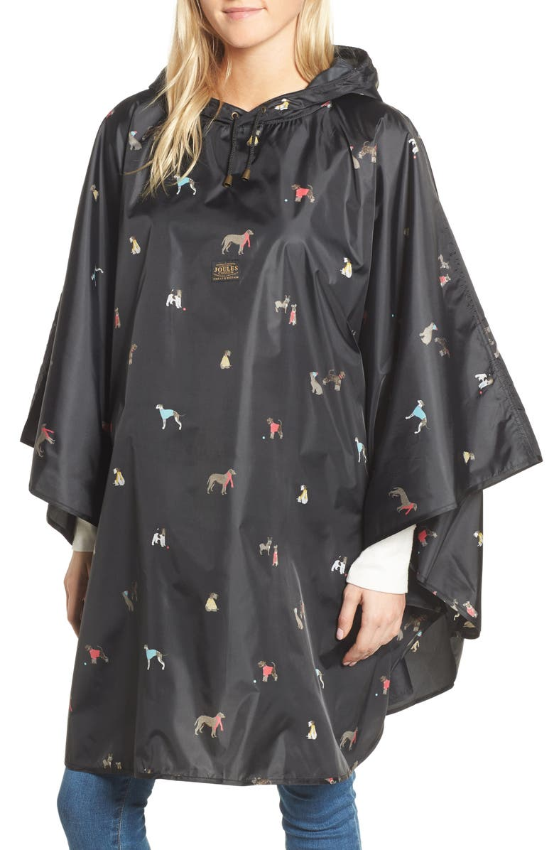 JOULES Right as Rain Print Packable Hooded Poncho, Main, color, 015