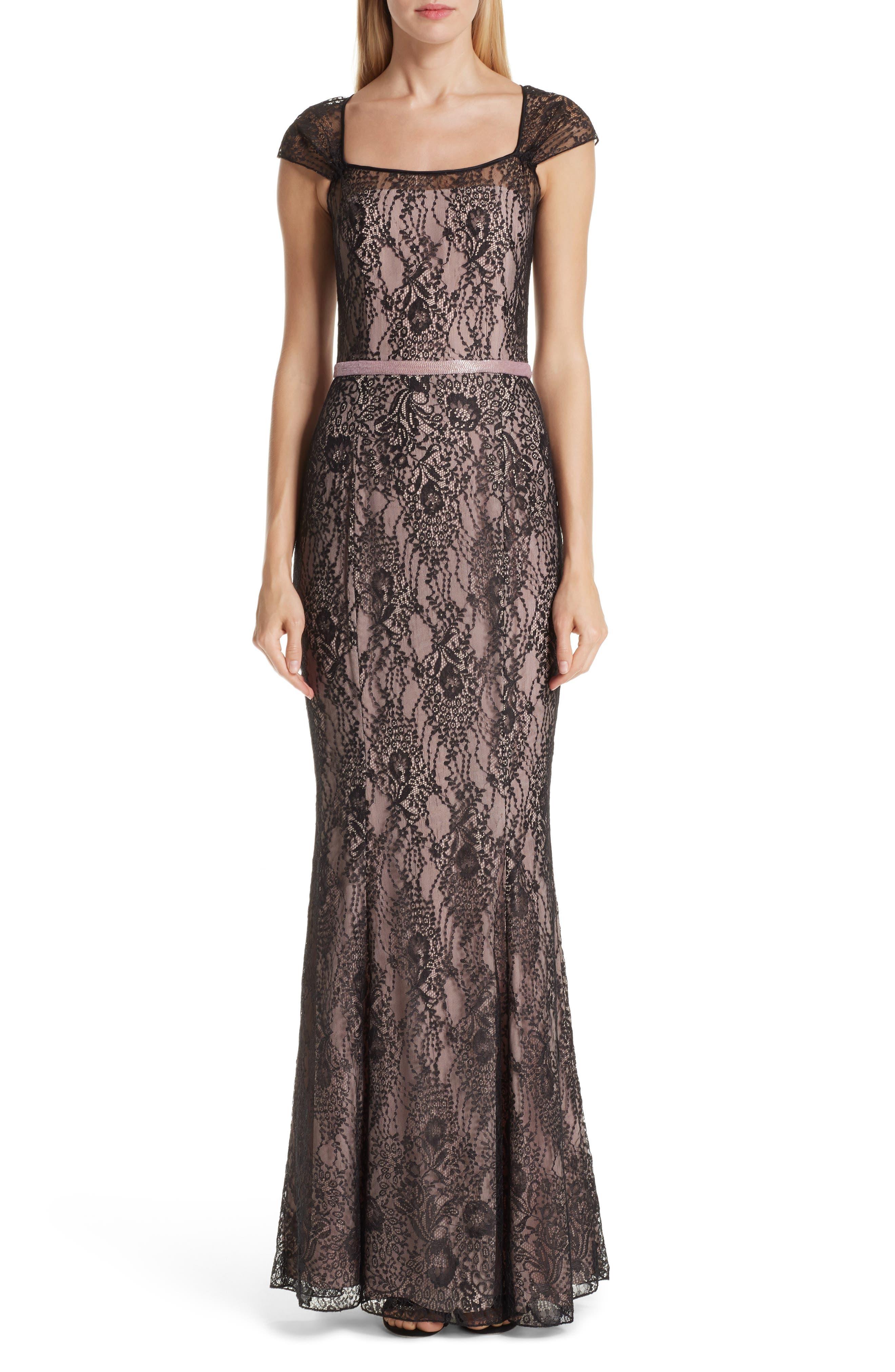Verdin Cap Sleeve Lace Evening Dress, Black